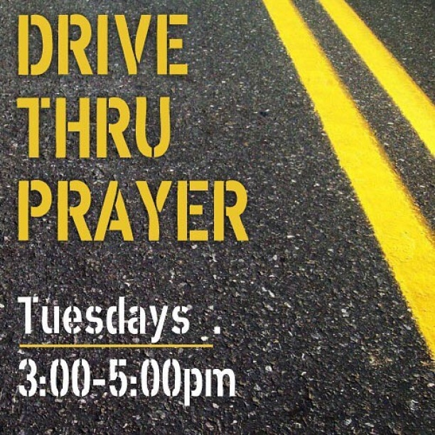 Just drive thru so we can pray for you! Join us tomorrow in the church parking lot. Can't wait to see you there.