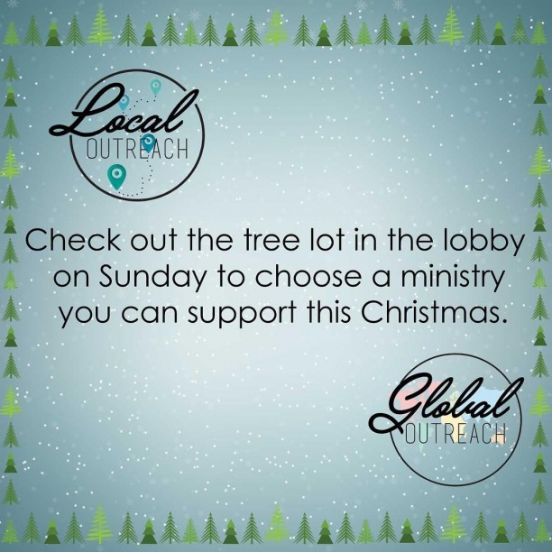 We still have tags on our trees! Come by the tree lot on Sunday to give a gift this Christmas season.