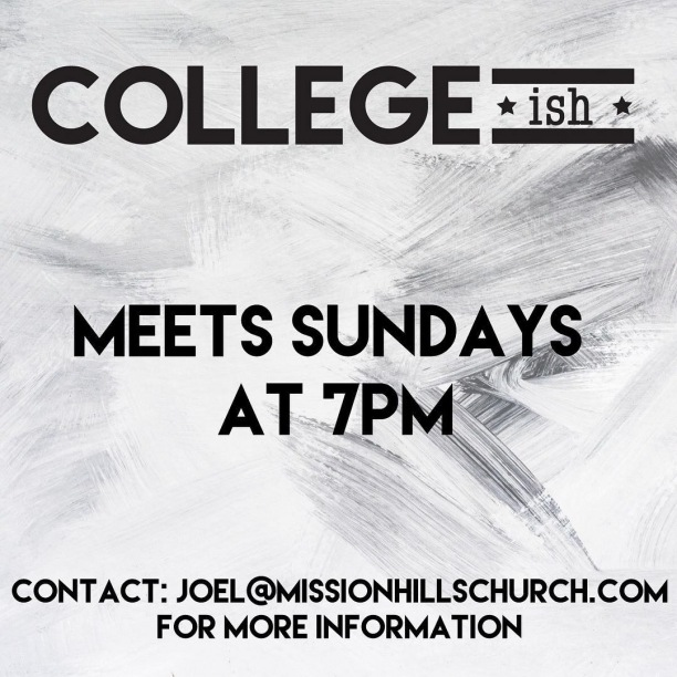 If you are 18-25ish come hang out with us on Sunday nights! We would love to meet you!