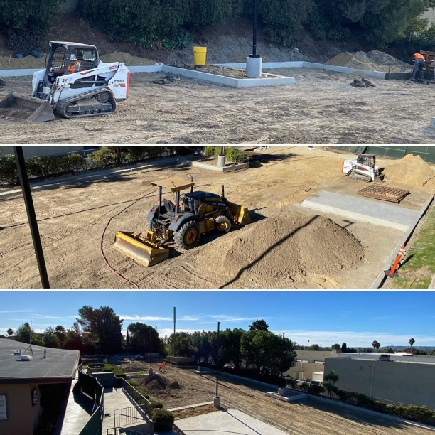 Things are shaping up in the west parking lot!